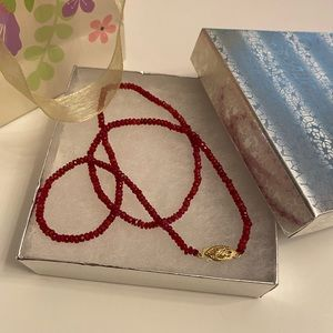 Natural Ruby 14K Gold Thin Strand Necklace